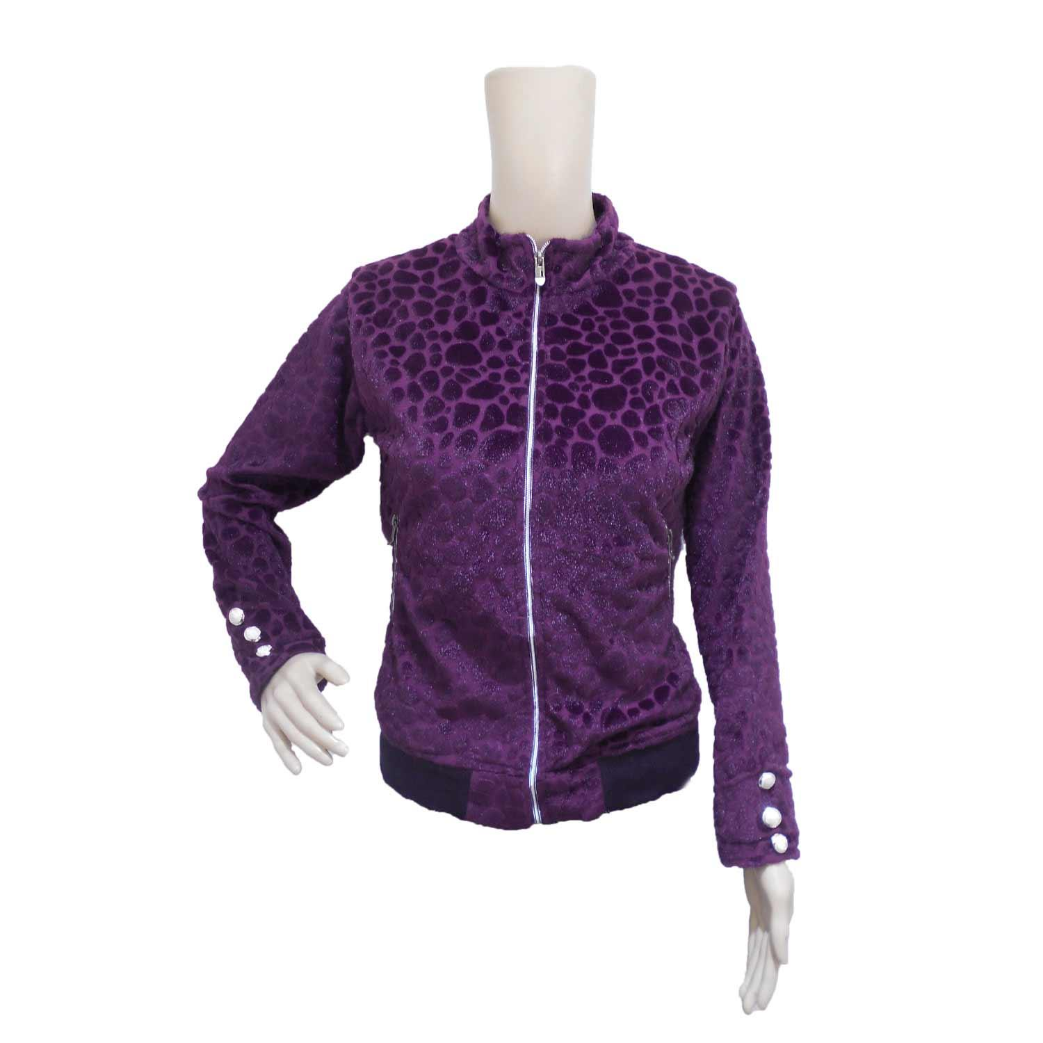 LADIE'S MISFIT JACKET VELVET PURPLE FREE SIZE