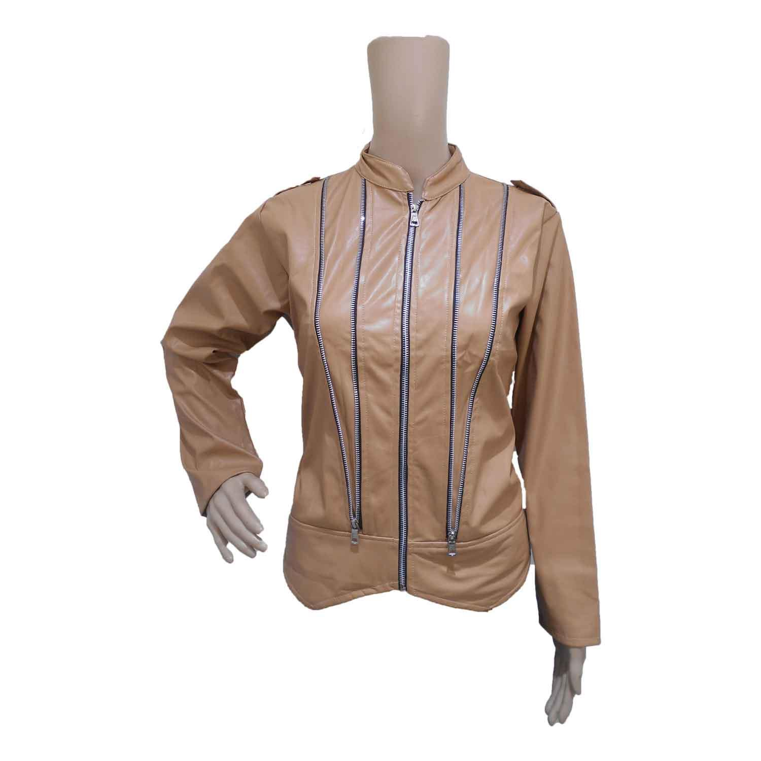 LADIE'S JACKET -1 LIGHT-BROWN FREE SIZE
